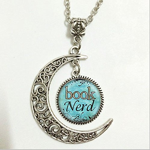 Book Nerd Pendant, Book Nerd Necklace,book Nerd Moon Jewelry, Moon Necklace Glass Art - Pictures Of Glasses Nerds With