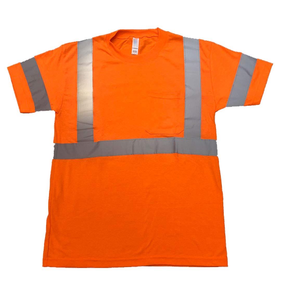 FITIN HIGH Visibility T Shirt ANSI Class 3 Reflective Safety Lime Orange Short Long Sleeve Hi Vis (Orange, Small)