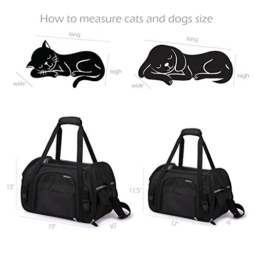 """Jespet Soft Sided Pet Carrier Comfort 17"""" for Airline Travel, Portable Dog Tote Bag for Small Animals, Cats, Kitten, Puppy, Black by Jespet (Image #6)"""