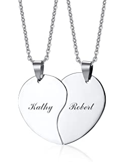 Mealguet Jewelry His and Hers Stainless Steel Matching Love Heart Vertical Bar Pendant Necklace