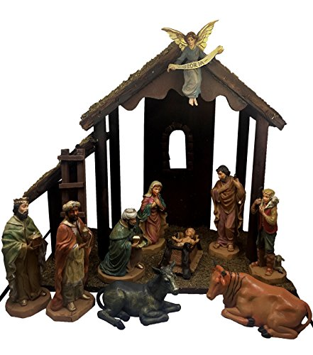 Gloria Excelsis Holy Family in 14 Inch Stable 10 Piece Nativity Set Christmas Holiday Decoration by Autom