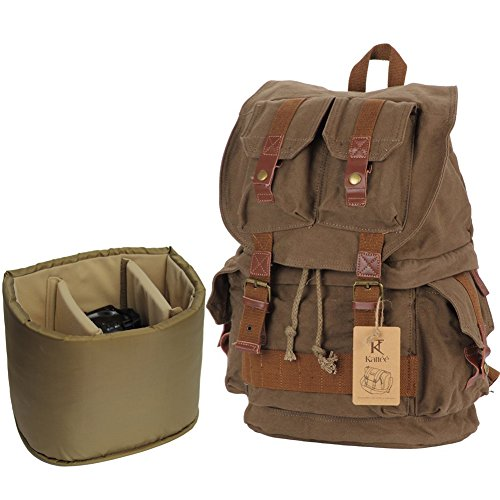 Kattee Fashion Canvas Camera Backpack DSLR SLR Case Rucksack Bag for Sony Canon Nikon(Army Green)