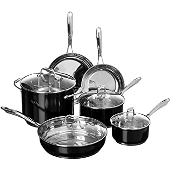 KitchenAid KCSS10OB Stainless Steel 10-Piece Cookware Set - Onyx Black
