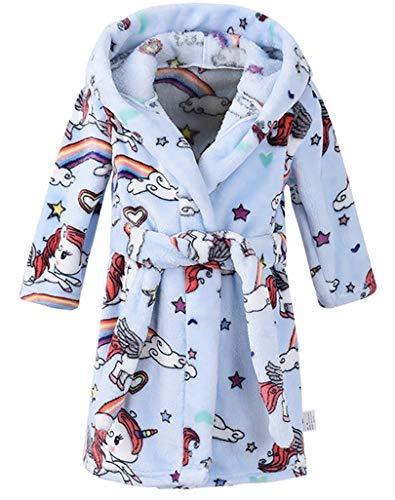 (Boys & Girls Bathrobes,Plush Soft Flannel Bathrobes Hooded Sleepwear for Kids (3T, Blue Pony) )