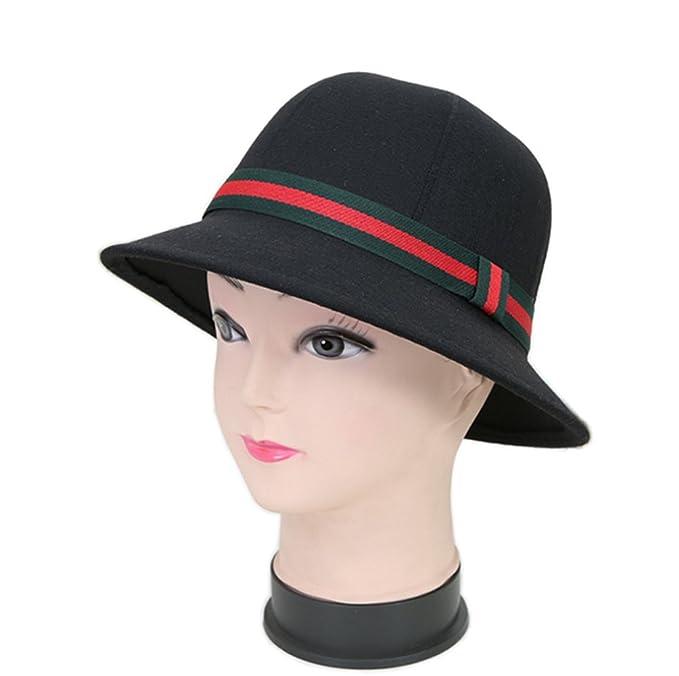 f640cdb4382 YSJOY Vintage Wool Felt Two Tone Belt Cloche Bucket Hat Winter Hat Church  Tea Party Caps