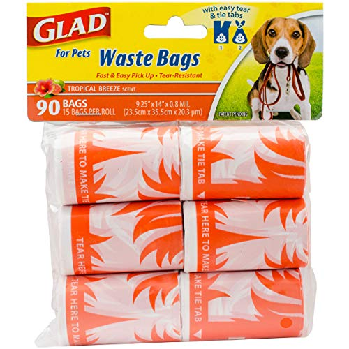 Glad for Pets Extra Large Tropical Breeze Scented Dog Waste Bags Refills | Poop Bags For Dogs, 90 Count