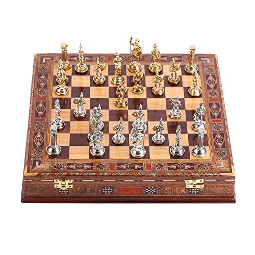 (CHESSLANDTR Historical Roman Figures Metal Chess Set for Adult and Kids, Handmade Cool Pieces and Natural Solid Wooden Chessboard with Pearl Design Around Board and Storage Inside King 2,8 inc)