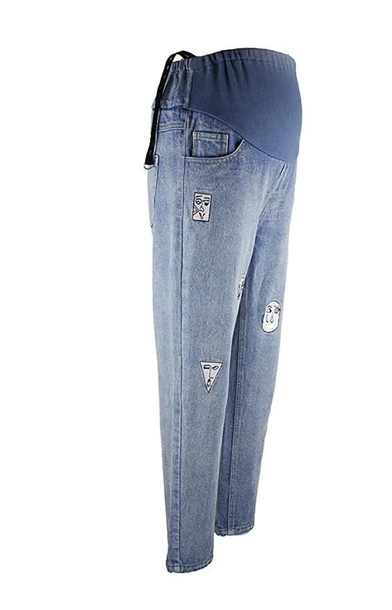 CHENGYANG Pantalones de maternidad Banda elastica Pantalón jeans Ropa para mujeres embarazadas Azul Label XL: Amazon.es: Ropa y accesorios