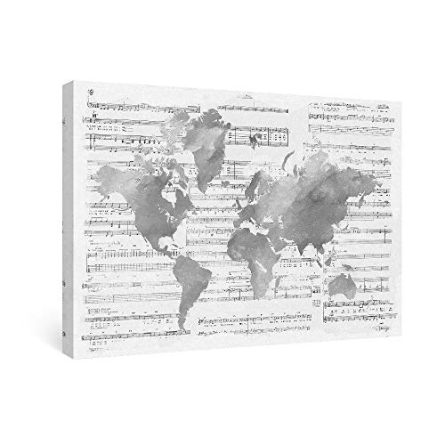 SUMGAR Grey Map of World on Sheet Music Wall Art for Living Room Abstract Framed Paintings Silhouette, 16