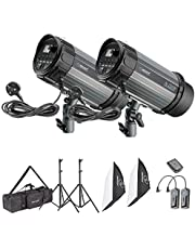 Neewer 600W Photo Studio Strobe Flash Light Softbox Lighting Kit:(2)300W Monolight,(2)Light  Stands,(2)Softbox,(1)RT-16 Wireless Trigger,(1)Bag for Video Shooting,Location and Portrait  Photography