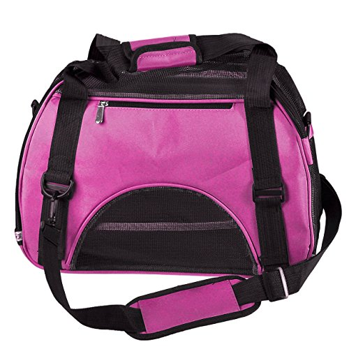 "Mogoko Airline Approved Soft Sided Pet Carrier Travel Tote Bag Portable Handbag Shoulder Bag for Puupy Dogs Cats Rabbits (Large (19.6""L*9.2""W*13.3""H), Red)"