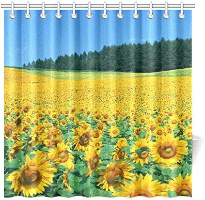 sunflower Shower Curtain Bathroom Waterproof Fabric with Hooks 72 x 72-Inch
