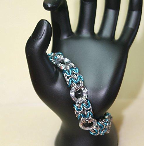 Swarovski Vitrail Light Cosmic Ring Byzantine Chain Maille Bracelet in Stainless Steel Aqua Anodized ()