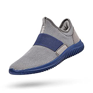 Feetmat Running Shoes Men Laceless Slip On Tennis Workout Shoes Knitted Non Slip Walking Gym Sneakers Grey Blue 9