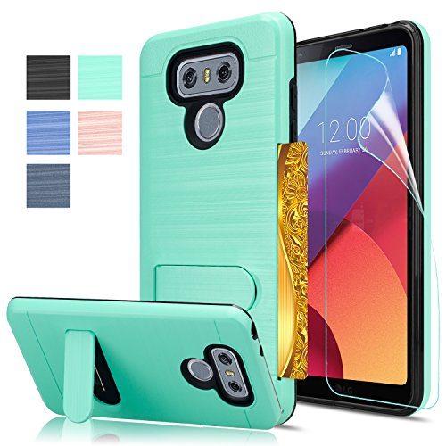 LG G6 Case, LG G6 Plus Case With HD Screen Protector AnoKe[Card Slots Holder][Wallet] Kickstand Hard Plastic PC TPU Soft Hybrid Shockproof Heavy Duty Protective Holster Case for LG G6 (2017)KC1 Mint