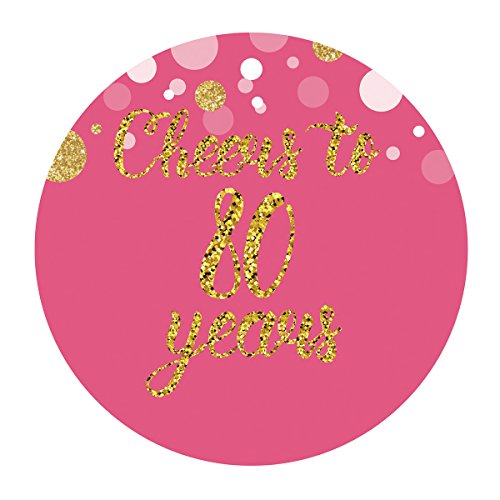 Top birthday labels pink and gold #80 for 2019