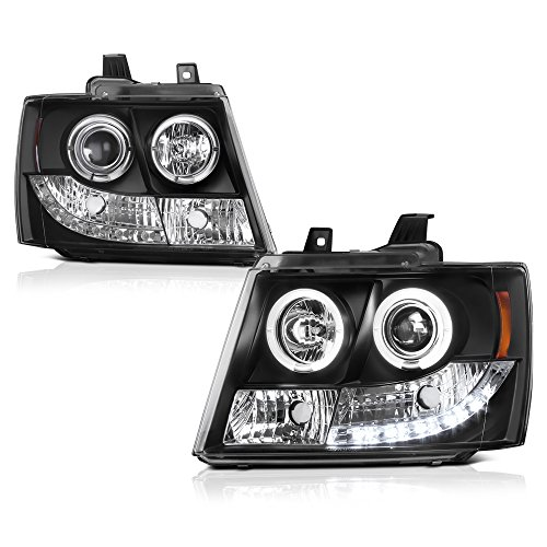 ([For 2007-2014 Chevy Avalanche Tahoe Suburban 1500 2500] LED Halo Ring Black Projector Headlight Headlamp Assembly, Driver & Passenger Side)