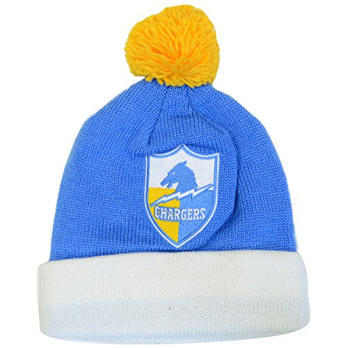 Mitchell & Ness Los Angeles Chargers Throwback Knit Hat with Pom (One Size, Shield)