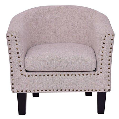 Moon Daughter Beige Seat Vintage Barrel Arm Single Sofa Chair Tub Club Sofa Living ()