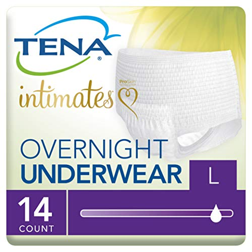 (Tena Incontinence Underwear for Women, for Overnight, Large, 14 Count, Pack of 4)