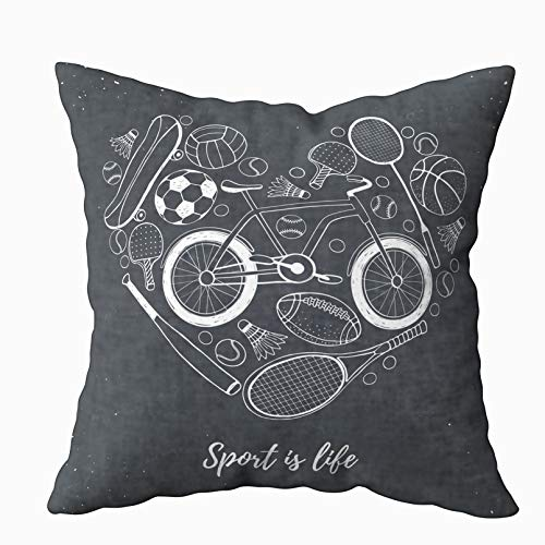 (Asdecmoly Pillow Cases Decorative Pillowcase Collection Sport Equipment Sport Life Balls Bicycle in Heart Shape Cover for Kids Throw Cushion Square 16X16 Inchs Home Sofa Bed Travel Gift)