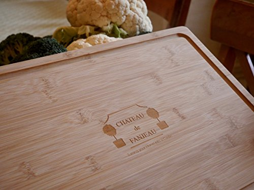 Large Premium Organic BAMBOO CUTTING BOARD & SERVING TRAY - Wide Juice Groove Antimicrobial Wood Chopping Kitchen Butcher Block; Meat Vegetables Fruit Cheese Bread - 18x12 Handles - CHATEAU de (Block Chateau)