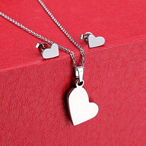 HOUSWEETY Acier inoxydable 316 1pcs Collier pendentif +1 paire Clou d'oreilles Simple Elegant