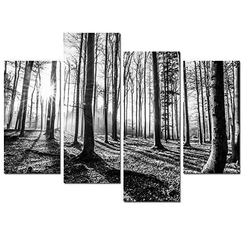 Forest Friends Canvas - sechars - Black and White Forest Canvas Wall Art 4 Pieces Forest Sunset Canvas Prints for Home Wall Decor,Stretched and Framed Tree Woods Artwork Living Room Office Hotel Decoration