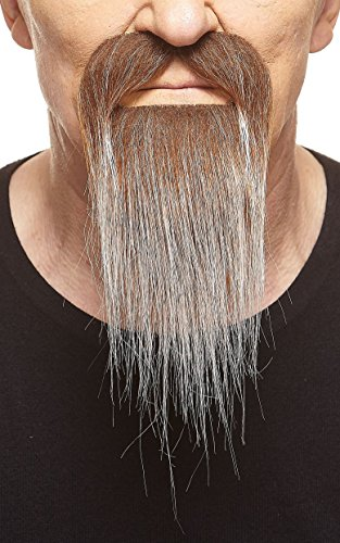 Mustaches Self Adhesive, Novelty, Ducktail Fake Beard, False Facial Hair, Costume Accessory for Adults, Brown with Gray Color -