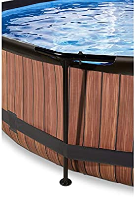 EXIT Wood Pool ø360x76cm with Dome and Filter Pump - Brown ...