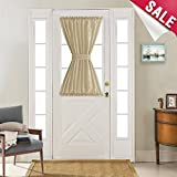 40 inch long door curtain panels - French Door Curtain Panels 40 inches Long Curtains for French Doors Faux Silk Dupioni French Door Panels Privacy, Taupe, 1 Panel, Tieback Included