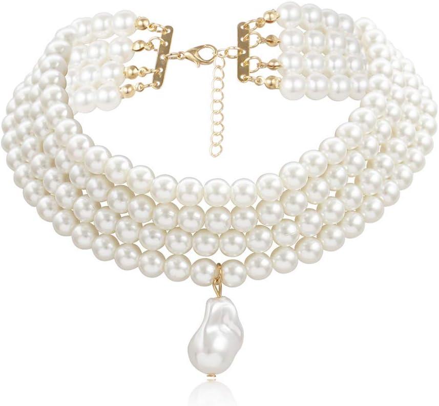 NICEWL Collares A Capas de Perlas Falsas de Las Mujeres,Perlas de Forma Irregular Barroca Colgante Gargantilla,Vintage Clavicle Cadena Traje Joyería,Round