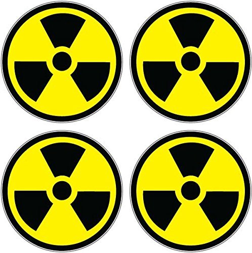 Graphics and More Radiation Nuclear Symbol Sheet of 4 - Window Bumper Sticker -