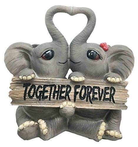 ShopForAllYou Figurines and Statues Forever and Ever Elephant Couple Lovers with Heart Shaped Trunks Figurine