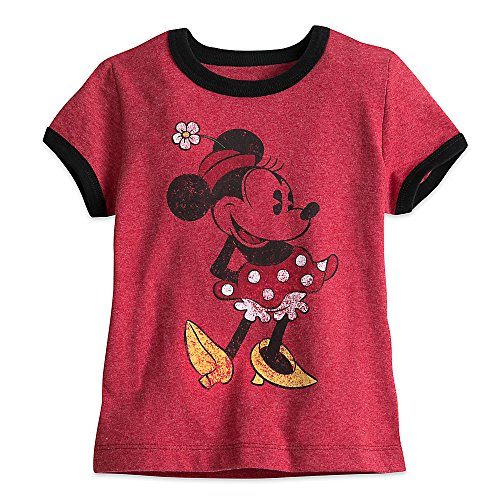 Disney Shirts For Girls (Disney Minnie Mouse Classic Ringer Tee for Girls Size S (5/6) 456214312291)