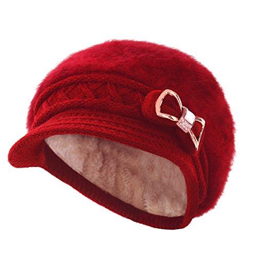b83de5a246ca3 Surblue Lady Crystal Bow Warm Cabled Angora Knit Winter Beanie Crochet Beret  Hats Newsboy Caps
