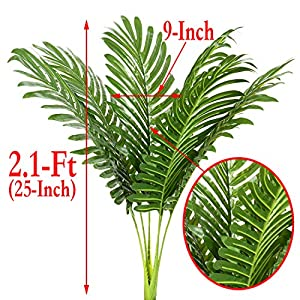 6pcs Artificial Palm Plants Leaves Imitation Leaf Artificial Plants Green Greenery Plants Faux Fake Tropical Large Palm Tree Leaves for Home Kitchen Party Flowers Arrangement 3