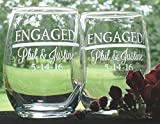 Engagement Engaged Couple Gift Pair of Personalized 15 oz stem less wine glasses Review