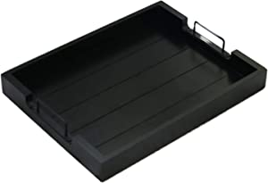 Royale Ave Serving Tray with Handles - Dinner Tray for Eating - Premium Quality Food Trays for Eating on Couch - Wooden Trays with Metal Handles Used for Coffee, Accents and Decor.