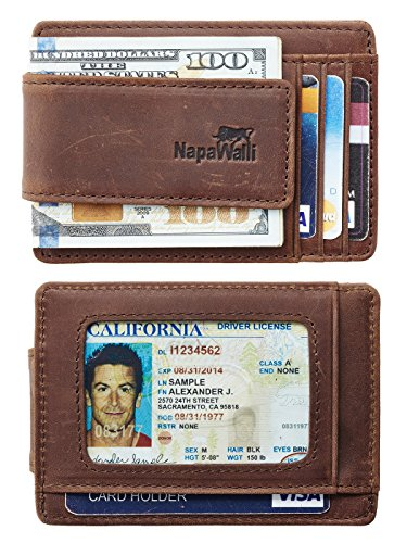 NapaWalli Genuine Leather Magnetic Front Pocket Money Clip Slim Minimalist Wallet (Crazy Horse Deep Brown) ()