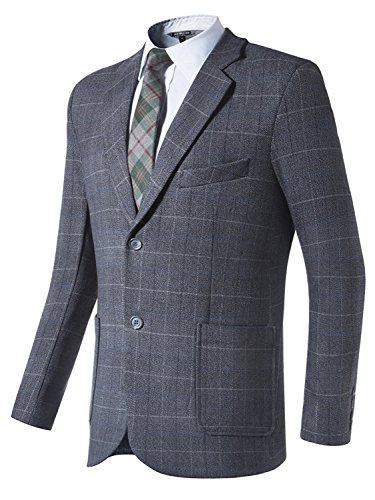 Hanayome New Men's Single Breasted Grey Plaid Dress Suit 2017 Separate Jacket XL