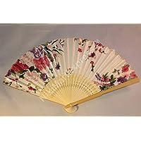 Oriental Lady White Bamboo & Silk Hand Folding Fan, Wall Art, Decoration (white2)