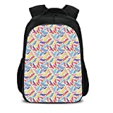 """iPrint 15.7"""" School Backpack,Feather,Colorful Plumage on Tartan Inspired Checkered Background Faded Contrast Artful Decorative,Multicolor,for Teenagers Girls Boys"""
