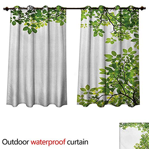 WilliamsDecor Leaves Home Patio Outdoor Curtain Broad Leaves Close-up Background Garden Organic Foliage Shrubs Cells Plant Image W55 x L72(140cm x - Taylor Retro Leaves Organic