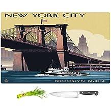 "DiaNoche Designs CB-LanternPressBrooklynBridgeNew1 Nil Cutting Boards Lantern Press Brooklyn Bridge New York City, Small 11"" x 8"""