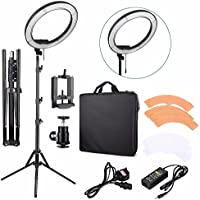 EACHSHOT ES240 Kit Including Light, Stand, Phone Clamp, Tripod Head 240 LED 18 Stepless Adjustable Ring Light Camera Photo/Video Portrait photography 5500K Dimmable (Light Stand Included)