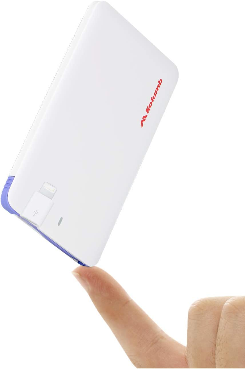 Ultra-Slim Ultra-Portable Ultra-Safe 2500mAh Wallet Pocket Power Card Power Bank, ONE-for-All External Mini Battery for Most Smart Phone and Digital Devices(White with Lightning Adapter)