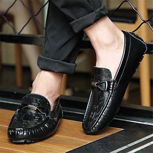 Cómoda Hombres Guisantes Conducción Leisure fei Cuero Mocasines Gpf Zapatos Punta Fashion Zapato Calzado De Los Lazy 42 Barco Simple Redondo black 8AawIq