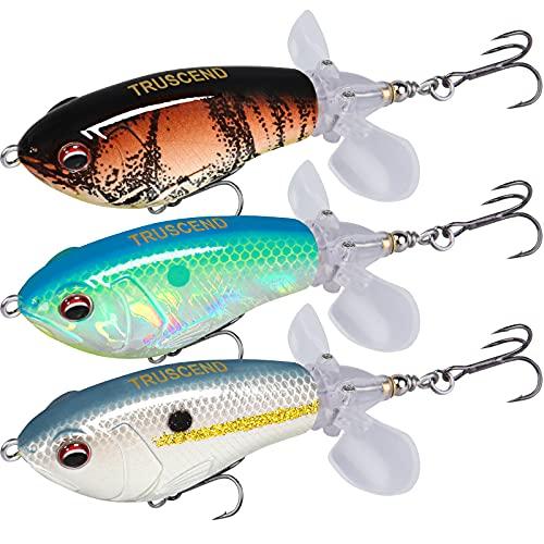 Señuelos para pesca con cola giratoria flotante.