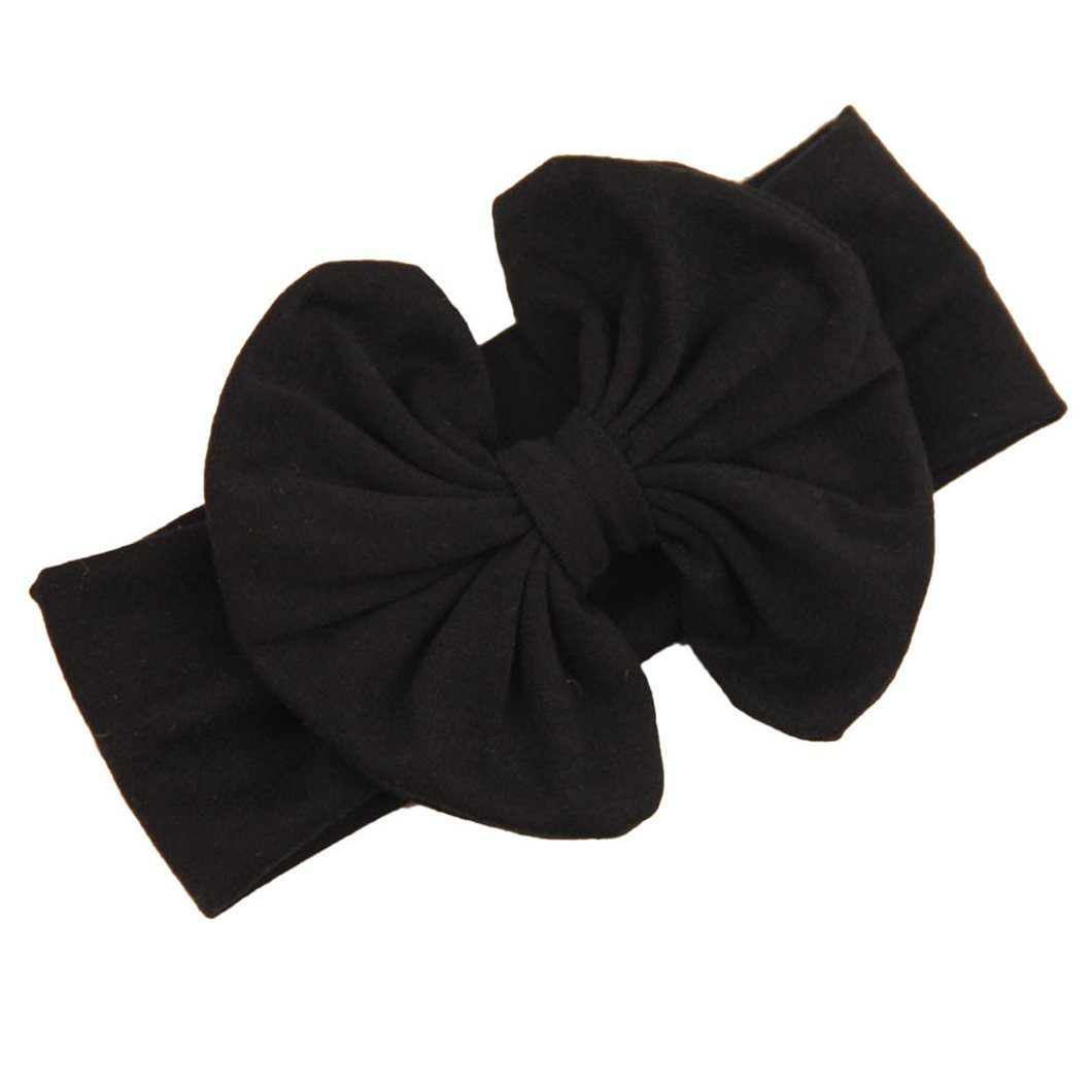 DZT1968(TM)Baby Girl Newest Bowknot Turban Headband Head Wrap Knotted Hair Band (Black)